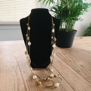 VTG || Gold Tone Faux Pearl Multi-strand Necklace
